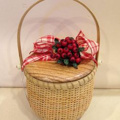 6 inch Nantucket Style Blooming Paperwhite Basket with Red Check Bow & Red Berries - 4 Blooming Bulbs