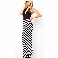 Women's Fashionable Highwaist Stripe Bodycon Fishtail Maxi Skirt