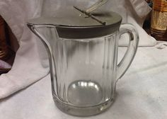 Vintage Heavy Glass Lidded Pitcher by 3birdz on Etsy