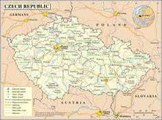 Map of Czech Republic Prague Castle, Central Europe, Czech Republic, Vintage World Maps, Germany, European Countries, Family History, Banner Ideas, Planets