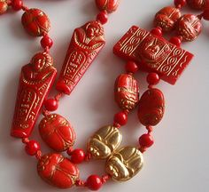 Rare New Max Neiger Line - Coral Red Egyptian Revival Necklace With Gold Plated Scarabs & Glass Art Deco Beads - detail