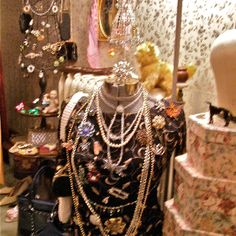 Display your collections in full site in unique ways so you can wear and enjoy it! Love Vintage Jewelry!!