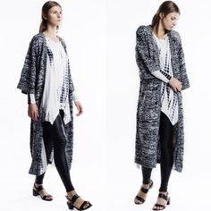 """Farewell"" Long Kimono Cardigan Black, grey and white long maxi cardigan. Brand new. True to size. This is an actual pic of the item all photography done personally by me. Model is wearing the size small. NO TRADES DON'T ASK. Bare Anthology Sweaters Cardigans"