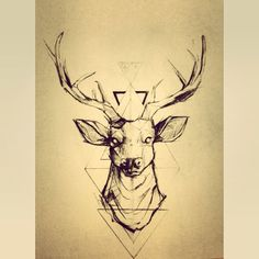 Geometric tattoos look pretty rad, want a deer tattoo so this tangles the two and looks pretty sweet! Hirsch Tattoos, Cervo Tattoo, Geometric Deer, Geometric Lines, Geometric Designs, Geometric Tattoo Animal, Geometric Background, Neue Tattoos, Future Tattoos