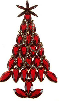 Dominique Red Marquis Christmas Tree Pin  Ca. 2005    Extra large marquis (also known as navette) rhinestone Christmas tree pin with clear rhinestone garland.
