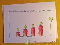 **Motiv: 4 Kerzen Hochwertige Klappkarte mit individuell auf deine Wünsche angepasster Gestaltung inclusive passendem Umschlag. DIE ganz besondere Karte zu Weihnachten oder schon in der...