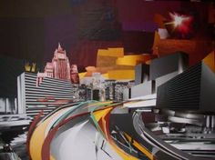 """Saatchi Art Artist Greta Berlin; Collage, """"Moscow. Night"""" #art As in the previous pin this same Russian artist uses a collage technique. This piece is made to create a particular realistic image with a surrealistic style. I like this piece because I like the choice of red-yellow complimentary colors"""