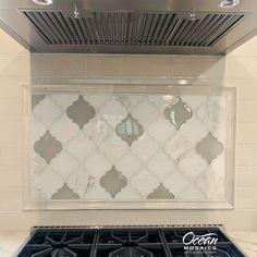 clover arabesque blanco and grigio kitchen backsplash