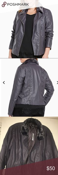 Torrid Moto jacket size 3 = 3X Torrid Moto jacket with lace up back and faux fur collar size 3 conversion size 3X torrid Jackets & Coats