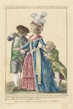 """""""Femme vétue d'un Lévite uni bordée d'une bande de Gaze plissée, le Ceinture à la derniere mode de ruban moucheté à noeuds et franges au bout, elle est coëffée d'un turban ou toque à la Levantine retroussée de Perles et surmontée de plumes en panaches sur une frisure demie négligée et fort lâche"""", Gallerie des Modes, 1780; MFA 44.1464"""