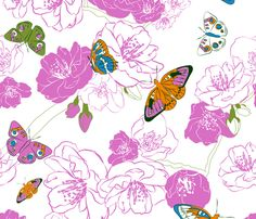 Butterflies love pink! fabric by Newmom.