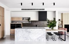 The Design Files: What happened when an interior stylist bought the worst home on the best street Kitchen Island Dining Table, Kitchen Benches, Kitchen Cabinets, Kitchen Island With Seating, Dining Tables, Kitchen Interior, New Kitchen, Kitchen Decor, Asian Kitchen