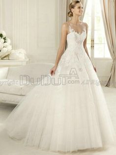 Ball Gown Tulle Bateau Sweep Lace Beading Wedding Dresses, Wedding Gowns, Bridal Gown, Bridal Dresses   www.duduta.com