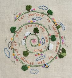This instant download pdf embroidery design is great for beginners. It features an inspirational quote by Rumi spiraling under grazing sheep, trees, flowers, clouds, birds and some little houses. While this pattern is designed for beginners, experienced stitchers would enjoy it as well. It uses only a few basic stitches (blanket stitch, lazy daisy, backstitch, french knots and a tiny bit of satin stitch) and would look great framed or as a cushion top. It comes with a full color image of…