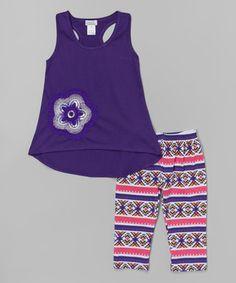 Look at this #zulilyfind! Purple Flower Top & Diamond Leggings - Toddler & Girls #zulilyfinds