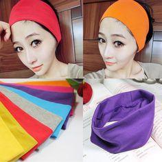Stile di modo della signora cotone assorbe il sudore yoga fascia elastica donne popolari di colore della caramella sport fascia per capelli fascia