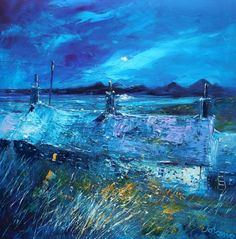 A Jura Moon from Kilmory - John Lowrie Morrison OBE - Jolomo - Hebridean Moons Abstract Landscape Painting, Landscape Paintings, Landscapes, Paintings I Love, Oil Paintings, Building Art, Oil Painting On Canvas, Home Art, Concept Art