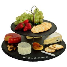 Serat 2-Layer Slate Cheese Board with Soapstone Chalk
