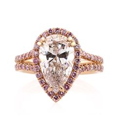 4.02ct Pear Shaped Diamond Engage/Anniv Ring by MarkBroumand on Etsy.  I PRETTY MUCH LOVE ALL OF HIS JEWELRY! The detail on the settings and bands is exquisite and amazing, as well as the main stone(s)!
