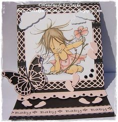 Sweet easel card with a baby fairy stamp by Mo Manning ~ Tineke's cards and creations