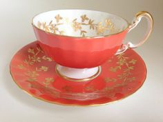 Eloquent Orange Anysley Tea Cup and Saucer Tea by AprilsLuxuries