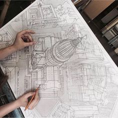 Marvelous Home Design Architectural Drawing Ideas. Spectacular Home Design Architectural Drawing Ideas. 3d Drawings, Drawing Sketches, Sketching, Sketch Art, Art Du Croquis, Perspective Drawing, Architecture Drawings, Drawing Techniques, Drawing People