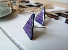 Triangle blue violet lines by Martinuska - SAShE.sk - Handmade Náušnice
