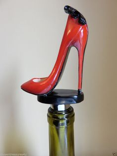 MINI SHOE DESIGN WINE STOPPER red shoe black bow design 5.5 in.T GIFTCRAFT #Giftcraft