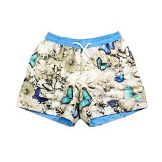 The exclusive, graphic print swim shorts, 'Paradise' feature one of the designers favourite vintage inspired butterfly prints. Tropical Colors, Butterfly Print, Ss 15, Swim Shorts, Workout Shorts, Graphic Prints, Vintage Inspired, Digital Prints, Paradise