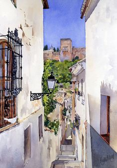 Best 12 An Alley In The Albaicin Granada Painting by Margaret Merry – SkillOfKing. Watercolor Artwork, Watercolor Sketch, Watercolor Illustration, Watercolor Architecture, Watercolor Landscape, Landscape Paintings, Building Painting, Building Art, Muse Art