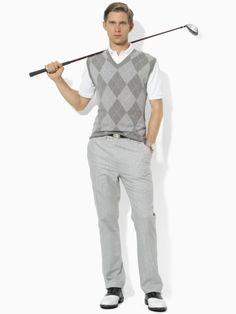 Cotton & Cashmere Argyle Vest - Polo Golf V-Neck - RalphLauren.com