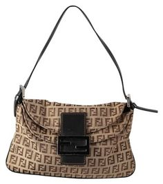 cfcff4ce4ccc GB1028467 Authentic Fendi Zucca Monogram Flap Over Shoulder Bag Silver  tone… Brown Canvas