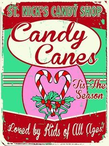 St Nicks Candy Shop Metal Sign Holiday Treats Retro Christmas ...