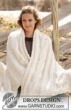 """117-55 Blanket in """"Polaris"""" with cables by DROPS design"""