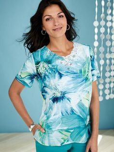 2a9f74dc846 Alfred Dunner® Waikiki Exploded Floral Top - Blue and green take on a bold  new