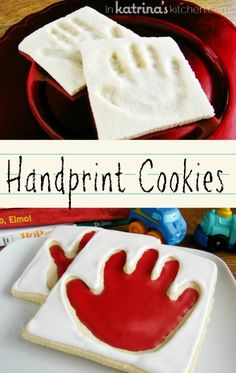 Handprint Cookies -the cookie dough is perfect for this edible gift since it doesn't spread during baking and will keep the imprint of your little one's handprint.