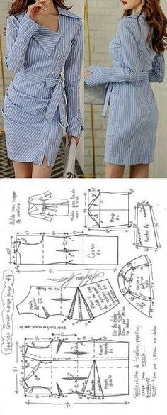 Vestido camisa com manga drapeado Diy Clothing, Sewing Clothes, Clothing Patterns, Dress Patterns, Barbie Clothes, Fashion Sewing, Diy Fashion, Fashion Dresses, Robe Diy