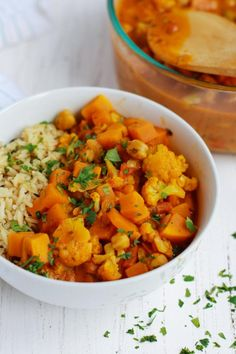 Cauliflower Sweet Potato Chickpea Curry: This vegan Cauliflower Sweet Potato Chickpea Curry is the ultimate comfort dish bursting with robust Indian spices and sweetened with coconut milk!