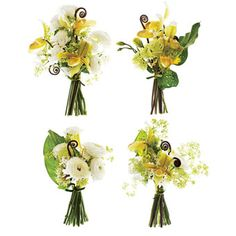 """Brides Magazine: Wedding Bouquets by Style - THE GAMINE    The Bouquet: Lime nosegays of """"Lady's Slipper"""" orchids, fiddlehead ferns, calla leaves, ranunculus, lady's mantle, narcissuses, lisianthus, and viburnum, $75 each    The Muse: """"Twiggy. These posies are bright, graphic, and petite—like her. They're ideal for a bride in a mod minidress, having a courthouse ceremony with a few bridesmaids—each holding a slightly different bouquet."""""""
