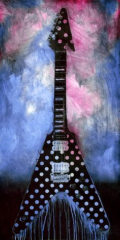 """""""Tribute"""" electric guitar played by Randy Rhodes. Acrylic painting on board by artist Sean Parnell."""
