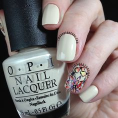 Tips and Topcoat: Inspired | Flowers on Nude.