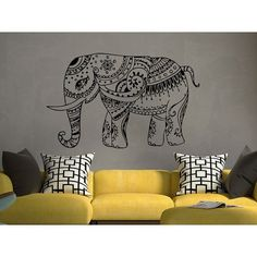 Elephant Wall Decal Stickers- Elephant Yoga Indie Wall Art Bedroom Dorm Nursery Boho Sticker Decal size 22x26 Color