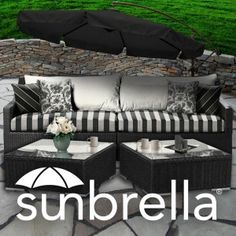 black and white sunbrella indoor-outdoor upholstery fabric. Check out our blog: http://patiolane.com/blog/sunbrella-diy-design-black-white/