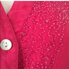 SALE  Chico's dark pink beaded linen top. Lovely linen top with delicate beading and 3/4 sleeves. Chico's size 1.  Good condition. May be missing a couple of beads. Chico's Tops