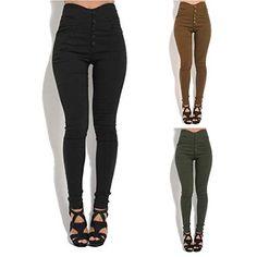 Pantalones De Mezclilla De Mujer Cintura Media Pantalones Pitillo Bastante Elásticos  Pantalones De Un Solo Pecho 6cedf2f4209