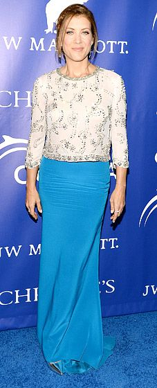 Kate Walsh is a modest fashionista in a beaded three-quarter sleeve top and long turquoise skirt | The Inaugural Oceana Ball, April 8, 2013
