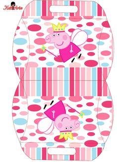 Peppa Pig Hada: Caja Almohada para Imprimir Gratis. Peppa Pig Printables, Free Printables, Pig Candy, Cumple Peppa Pig, George Pig, Pig Birthday, Party In A Box, Pillow Box, Deco Table