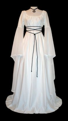 Gorgeous Medieval/Renaissance White Satin Trumpet Sleeve Costume Gown, with Sheer Trumpet Sleeve.. $185.00, via Etsy.