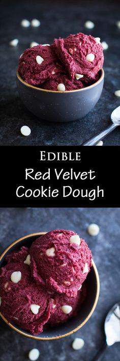 Edible red velvet cookie dough | egg-free | dessert | easy recipe | white chocolate