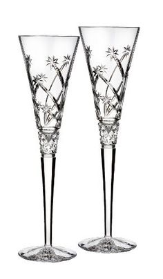 """Waterford Toasting Flute Pair """"Wishes"""""""